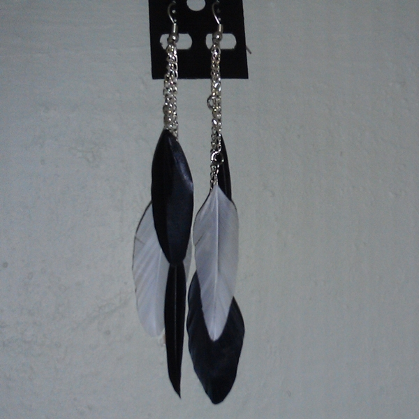 Green and White Feather Earrings