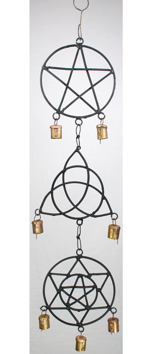 Pentagram, Triquetra, Solomon`s Seal Wind Chime 5""