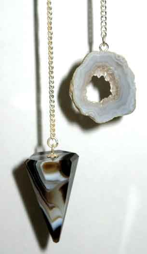 6 Sided Black Onyx Pendulum w/ Geode