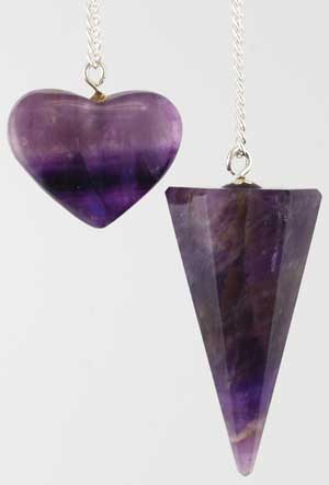 6-sided Amethyst Pendulum with Amethyst Heart