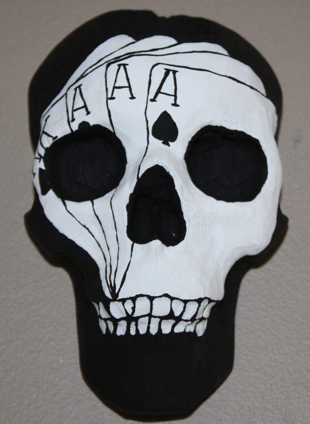Poker Face Skull Sconce
