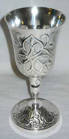 Gothic Cross Silver Chalice 7""
