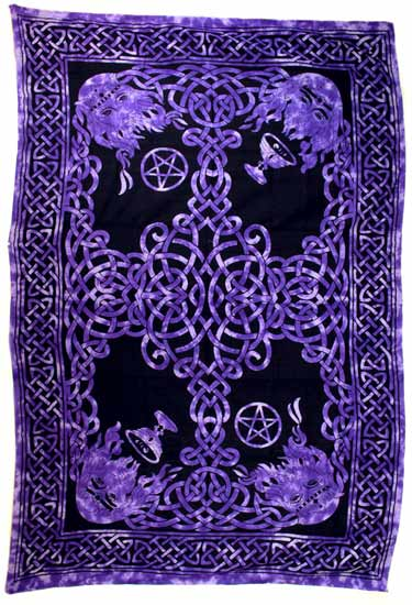 "Purple and Black Celtic God Tapestry 72"" by 108"""