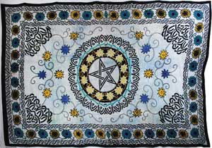"Flower Pentagram 72"" x 108"" Tapestry"