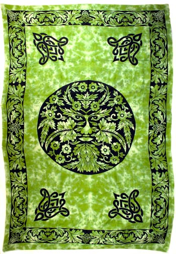 "Green and Black Green Man 72"" x 108"" Tapestry"