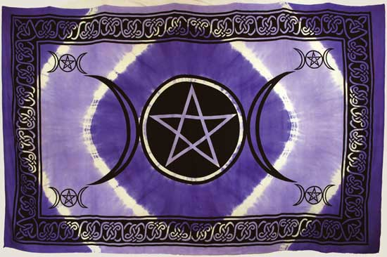 "Red Triple Moon Pentagram 72"" x 108"" Tapestry"