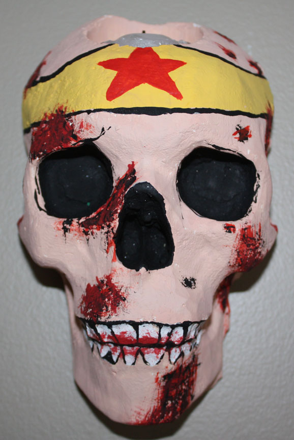 Wonder Woman Zombie Skull Sconce